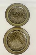 2 Franciscan MADEIRA Dinner Plates Swirly Green Flowers Brown Earthenwar... - $14.84
