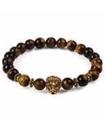 Bracelet Wood Natural Stone Beads Gold Plated Leo Jasper Yoya Charm - $12.99