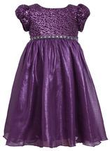 Bonnie Jean Little Girls 2T-6X Purple Sequin and Foil Chiffon Social Party Dress