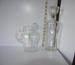 "Lot of 2 Clear Glass Collectibles 7"" Juice Pitcher & 12"" Oil/Vinegar Dec... - $32.67"