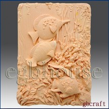 Tropical Fishes - 2d Silicone Soap/polymer/clay/cold Porcelain Mold - $24.06