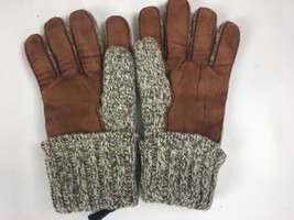 Vtg Lands End Gloves Leather Wool Rag Red Fleece Lined - $21.36