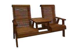 Quality Highback Outdoor Patio Settee - Real Wood - Made in USA! - $737.55