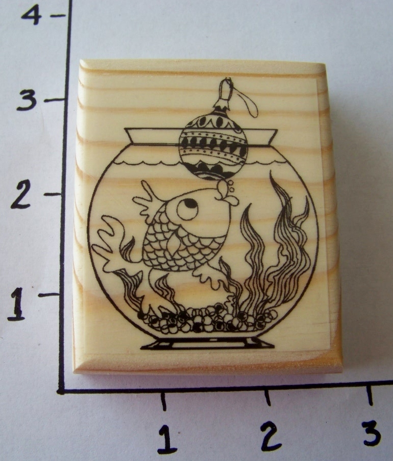 GOLDFISH WITH ORNAMENT NEW mounted rubber stamp