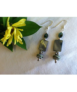 Abalone Handmade Earrings Sage and Forest Green Earrings With Artisan Ha... - $39.00