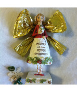 Angel Statue Vintage Resin Angel Figurine Holding Baby Snowman Red White... - $28.40