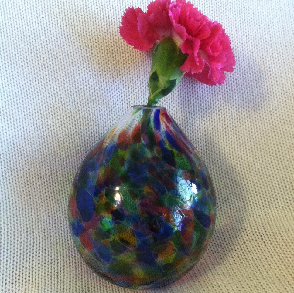Art Deco Modern Vase Vintage Hand Blown Blue Pink Purple Green Vase Stained Glas