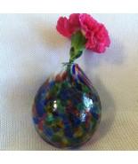 Art Deco Modern Vase Vintage Hand Blown Blue Pink Purple Green Vase Stai... - $49.70