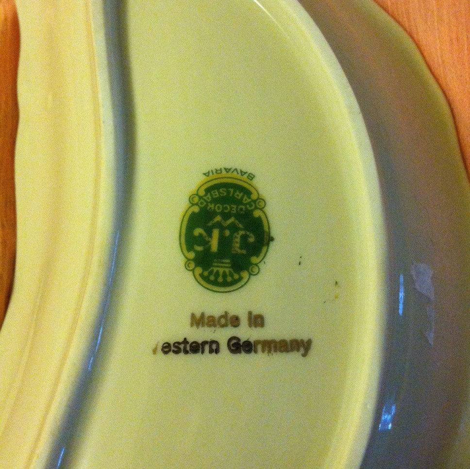 Crescent Shaped Porcelain Dish Vintage Bone Dish White and Gold Gilded China Ros