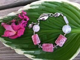 Rhodochrosite and Rose Quartz Bracelet Handmade Pink Gemstone Beaded Bra... - $59.00