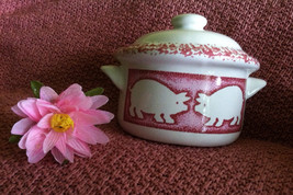 Pink and White Covered Casserole Dish Vintage Ceramic Baking Dish With P... - €25,43 EUR