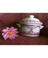 Pink and White Covered Casserole Dish Vintage Ceramic Baking Dish With P... - $29.00