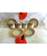 Gold and White Demitasse Cups Saucers Vintage Indonesia Material Jakarta... - $79.00