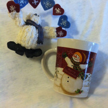 Christmas Snowman Mug Vintage Ceramic Royal Norfolk Red White Green Merr... - $15.00
