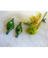 Green Spiral Earrings Modern Style Green Glass Foil Lamp Work Bead and F... - $29.00