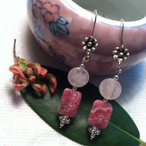 Pink and Rose Fancy Drop Earrings Rose Quartz and Rhodochrosite Gemstone... - $44.00