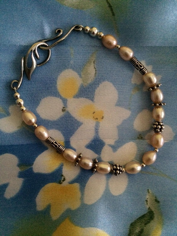 Peach Pearl Bracelet Spring Jewelry Handmade Easter Bracelet  Sterling Silver Fr