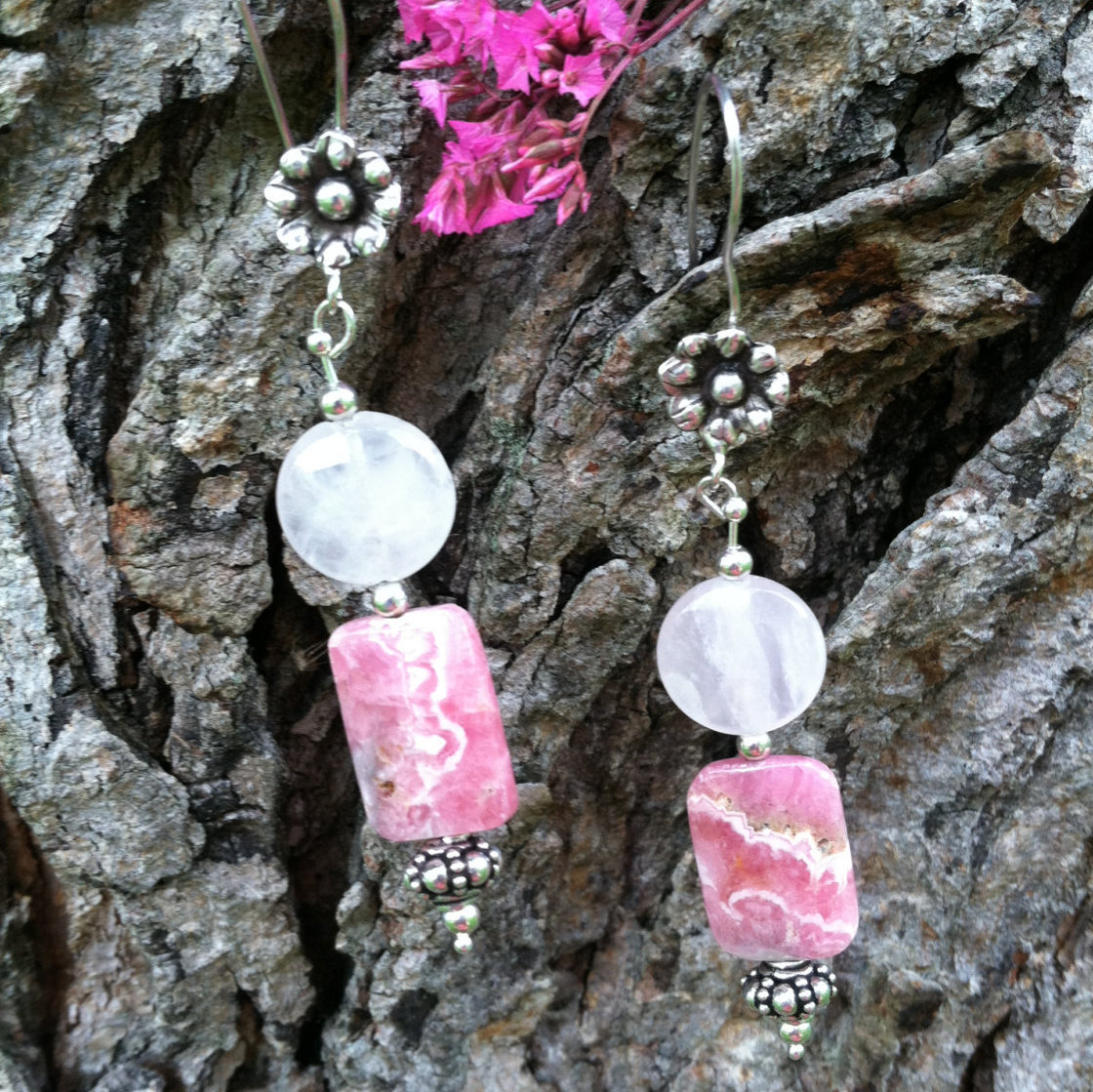 Pink and Rose Fancy Drop Earrings Rose Quartz and Rhodochrosite Gemstone Jewelry