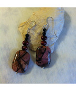 Rose and Black Abstract Earrings Handmade Rhodonite Onyx Maroon Pearl Ea... - $44.00