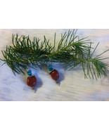 Acorn Earrings Goldstone and Turquoise Nugget Handmade Beaded Earrings A... - $33.00