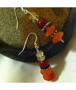 Sunset Colors Earrings Citrine Carnelian Riverstone Hand Made Beaded Gem... - $32.00