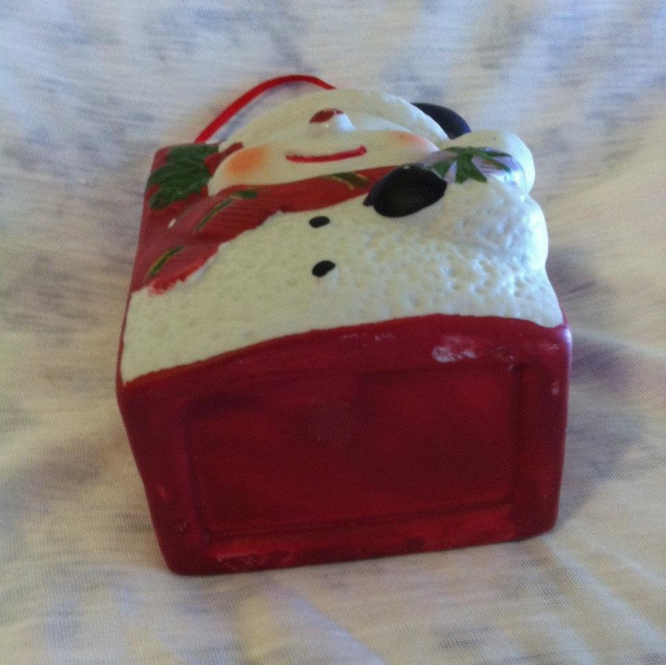 Snowman Ceramic Bag Vintage Hand Painted Winter Theme Decoration Small Snowman L