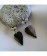 Black and White Heart Earrings Modern Artistic Agate and Quartz Gemstone... - $65.00