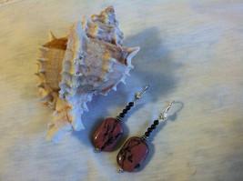 Rhodonite and Garnet Earrings Rose Black and Ma... - $39.00