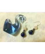 Pink and Blue Beaded Drop Earrings Hand Made Rose Quartz Lapis Lazuli St... - $32.00