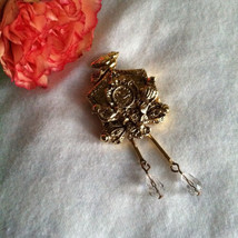 Birdhouse Pin Vintage Gold Birdhouse Brooch with Flowers Birds and Crystals Bird - $28.00