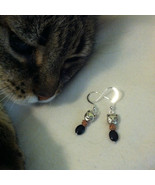 Cat Earrings Hand Made Black Onyx and Sterling Silver Kitty Earrings Fal... - $18.00