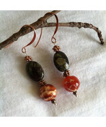 Copper Jasper and Agate Earrings Handmade Orange Agate Green Jasper and ... - $25.00