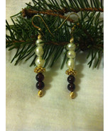 Christmas Red and White Holiday Earrings Handmade Garnet and White Pearl... - $32.00