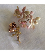 Rose Pin Pink and Gold Rose Brooch Flower Jewelry Vintage Double Rose Pi... - $24.50