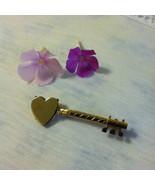 Heart Key Pin Gold Key Brooch With Heart Vintage Gold Heart Bar Pin Vint... - $19.50