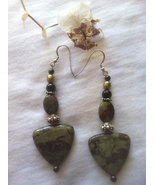 Green and Red Jasper Earrings Dragon's Blood Jasper Sterling Silver Earr... - $47.00