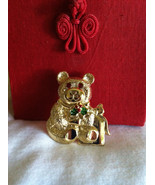 Bear Pin Vintage Gold Gerry's Signed Bear Pin Holly Berry Bear Spring Su... - $29.00