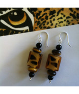 Leopard Spot Earrings Lamp Work Glass Tiger Eye and Onyx Beaded Handmade... - $34.70