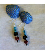Southwestern Style Earrings Turquoise Onyx Riverstone and Sterling Silve... - $32.00