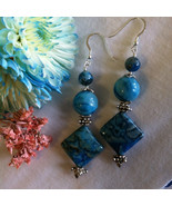 Aqua Crazy Lace Agate Earrings Modern Abstract Handmade Blue Agate Earri... - $49.00