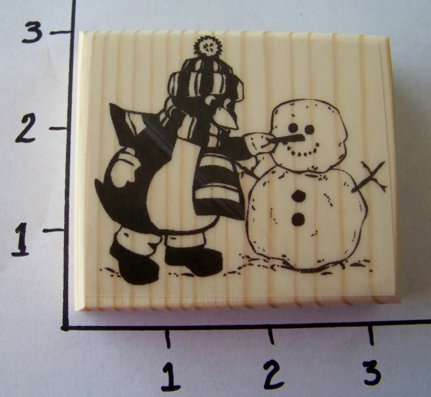 PENGUIN MAKING SNOWMAN-NEW mounted rubber stamp