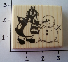 PENGUIN MAKING SNOWMAN-NEW mounted rubber stamp - $7.00