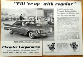Chrysler Newport V-8 Back Fins 2 Pages 1961 Black & White Print Ad - $5.00