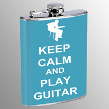 Flask 8oz Stainless Steel Keep Calm and Play Guitar Design-011 Whiskey - $12.82
