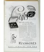 Krementz Gifts Jewelry for Men Black & White Print WWII Ad 1943 - $5.00