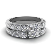 1.50 Ct Heart Shaped Simulated Diamond Wedding Ring Sets 14K White Gold Finish - $248.75