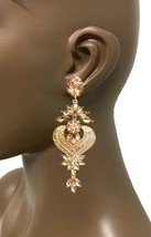 "4"" Long Statement Peach Rhinestone Evening Clip On Earrings Bridal Drag ... - $21.53"