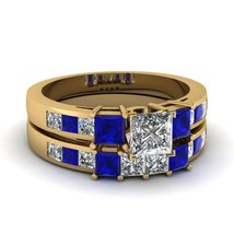 1.75 Ct Blue & White Sapphire Trio Princess Ring Set 14K Yellow Gold Plated - $275.71