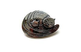 Vintage Darveau cat brooch silver plated pewter Canadian designer signed... - £26.85 GBP