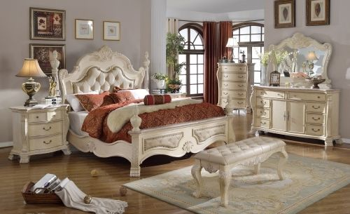 Meridian Monaco Queen Size Panel Bedroom Set Traditional Style 2 Night Stands
